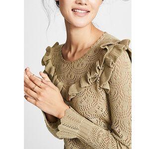 Love Shack Fancy Natalie Ruffle pointelle sweater
